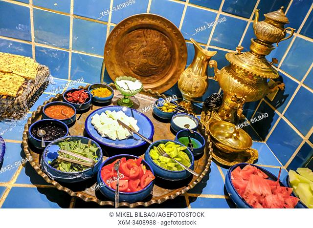 Traditional food. Courtyard in an hotel. Kashan. Iran, Asia