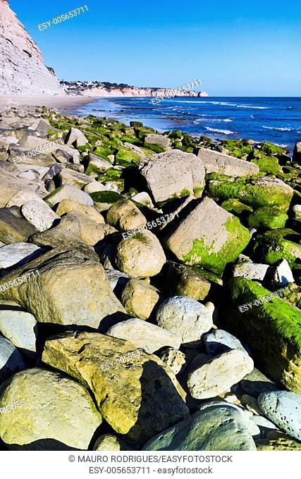 View of the beautiful beach Porto de Mos in Algarve, Portugal