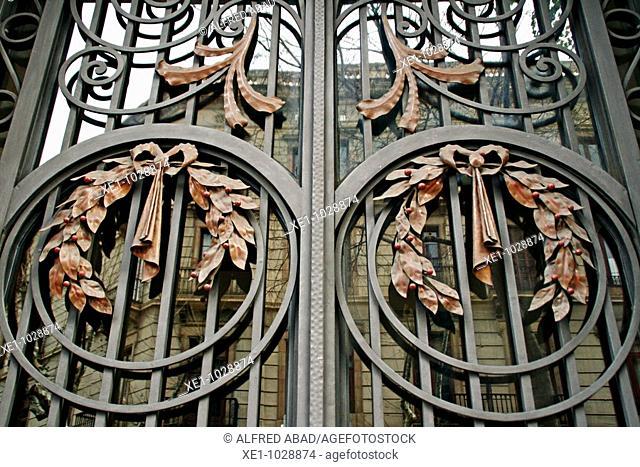 Wrought iron gate, Barcelona, Catalonia, Spain