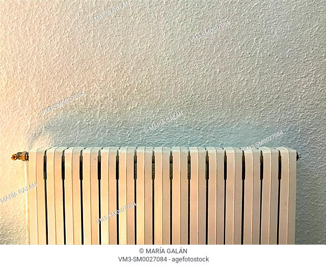 Radiator against white wall