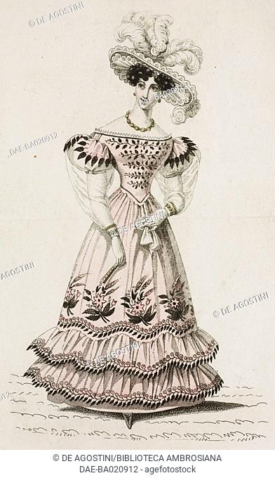 Woman wearing a pink dress with puffed sleeves decorated with floral motifs, light-coloured hat adorned with feathers, plate 59, French Fashions
