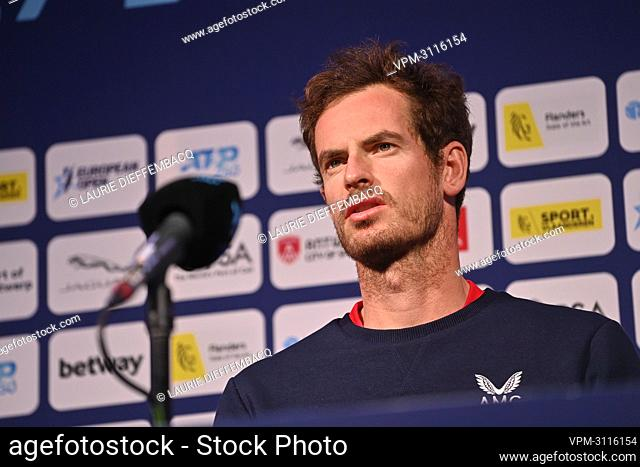 British Andy Murray pictured during a press conference ahead of the European Open Tennis ATP tournament, in Antwerp, Monday 18 October 2021