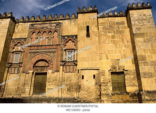 Moorish architecture of San Ildefonso Gate Al Hakam II door on west side of the Mosque Cathedral of Cordoba