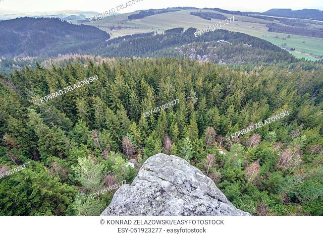 Aerial view from Ostas mountain Nature Reserve in Table Mountains range in Czech Republic