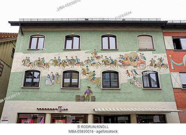 Germany, Baden-Wurttemberg, Wangen im Allgäu (village), house with facade painting and text: After Marie-Louise splitted from Napoleon