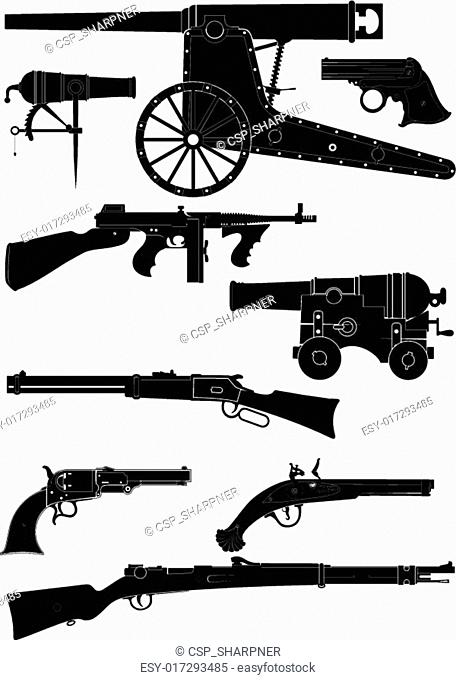 silhouettes of classic firearms