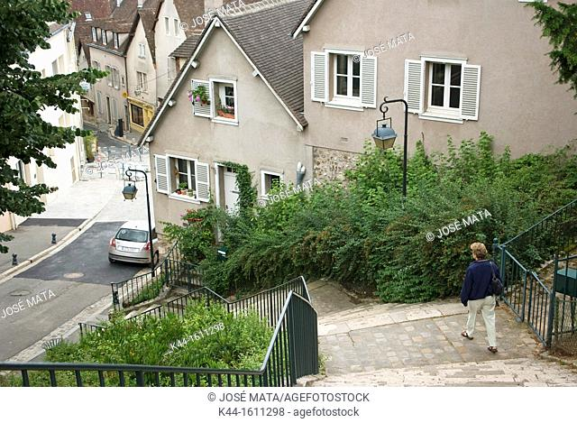 View of the picturesque streets and houses in the town of Chartres, France