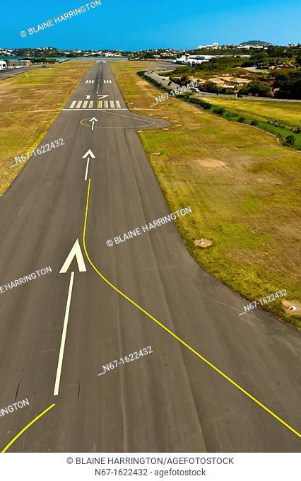 Aerial view of the runway at Noumea Magenta Airport domestic airport, Noumea, Grand Terre, New Caledonia