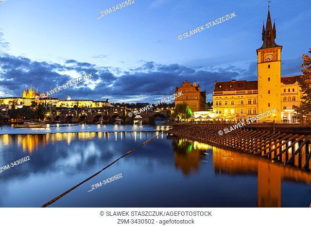 Evening on river Vltava in Prague, Czechia