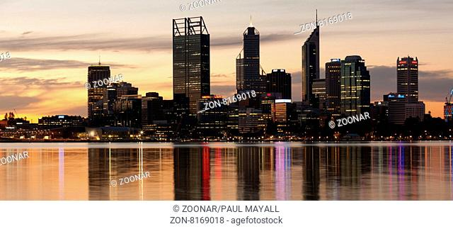 Perth City Skyline and Swan River by night, Western Australia