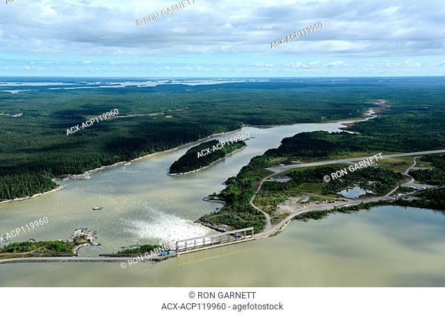 aerial, Kelsey Generating Station, Kelsey, Manitoba, Canada