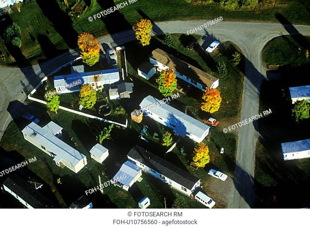Aerial view of trailer park in Autumn in VT