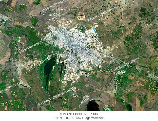 Colour satellite image of Astana, Kazakhstan. Image taken on August 19, 2014 with Landsat 8 data