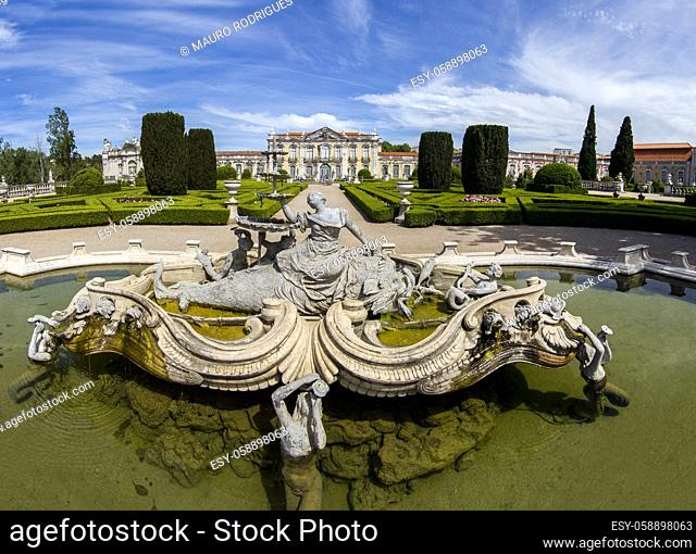 View of the the beautiful National Palace of Queluz, located in Sintra, Portugal