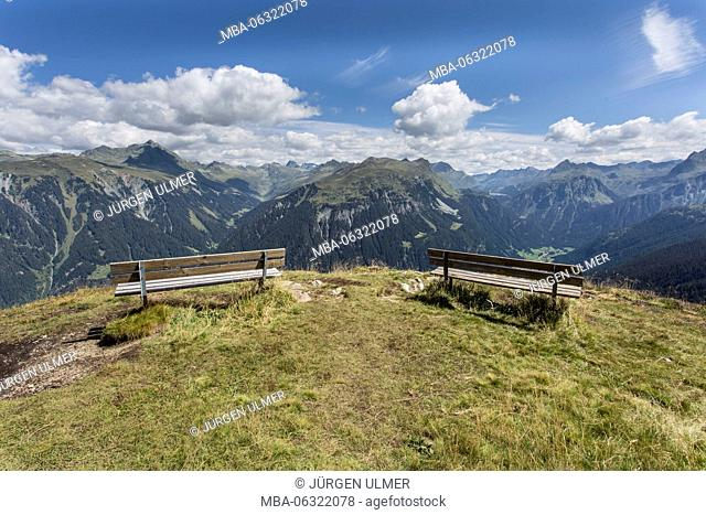Lookout, bank, mountains, summits, clouds, blue sky, valley