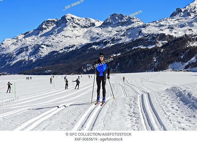 Cross-country skiing area on Lake Sils, Silsersee, Maloja, Engadin, Grisons, Switzerland