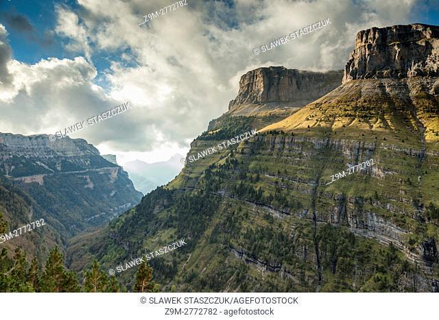 Autumn afternoon in Ordesa y Monte Perdido national park near Torla, Pyrenees, Spain