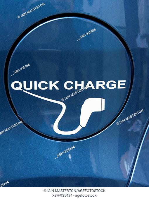Detail of cap over electric recharging plug fitted to new electric car at the Frankfurt Motor Show 2009