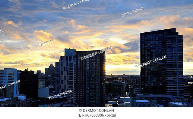Romantic sky over city