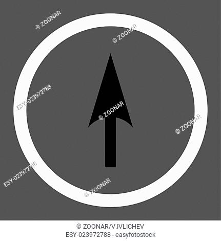 Arrow Axis Y flat black and white colors rounded vector icon