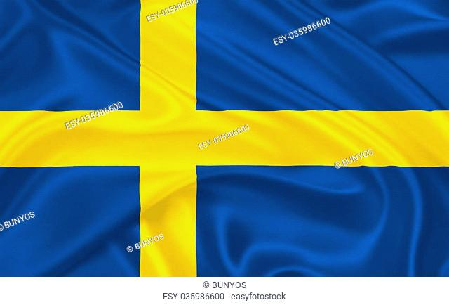 Flag of Sweden waving with highly detailed textile texture pattern
