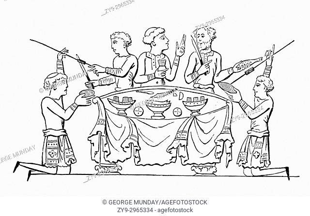 A cartoon of an Anglo Saxon dinner party in 8th Century England