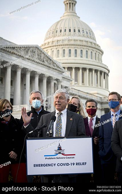 United States Representative Fred Upton (Republican of Michigan) joins members of the Problem Solvers Caucus for a press conference regarding the current...