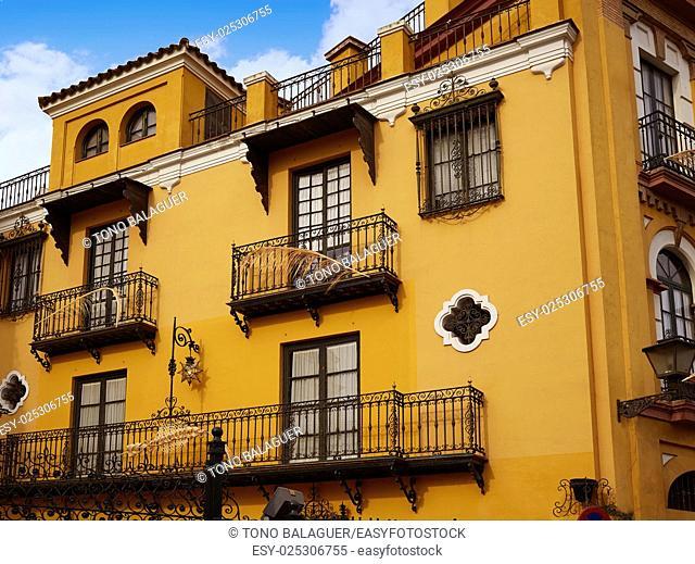 Seville Macarena barrio facades in Sevilla Spain