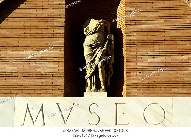 Merida (Spain). Detail on the facade of the National Museum of Roman Art in the city of Mérida