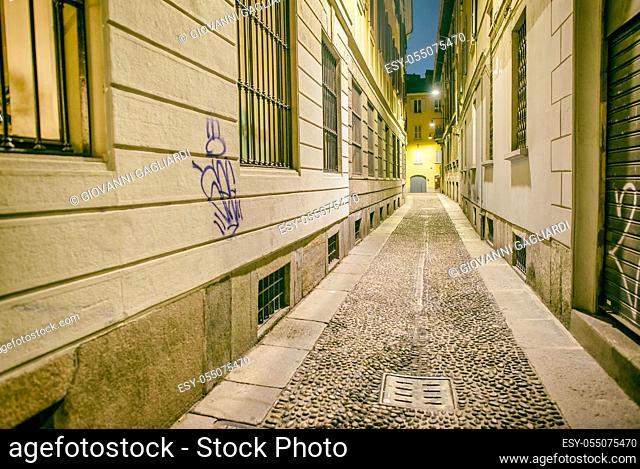 Ancient narrow street of Milan, Italy