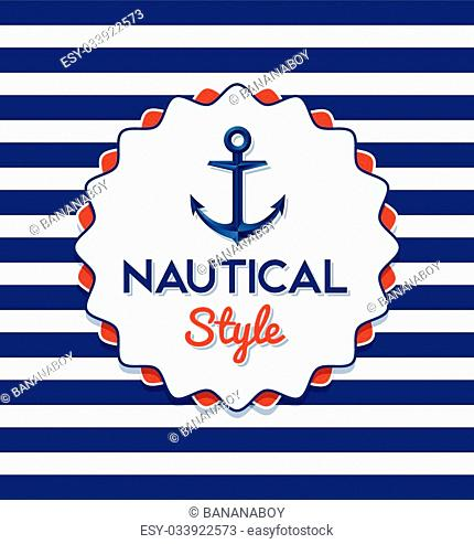 Nautical anchor icon or badge on blue white striped background