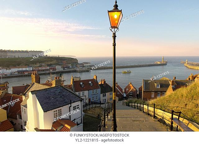 Whitby Abbey 199 steps looking across harbour , North Yorkshire Moors National Park, England