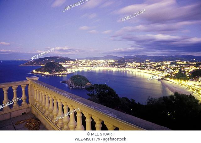 Spain, San Sebastian Donostia, view of citscape, elevated view