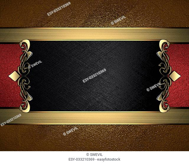 Grunge gold background with black name plate with patterns on the edges