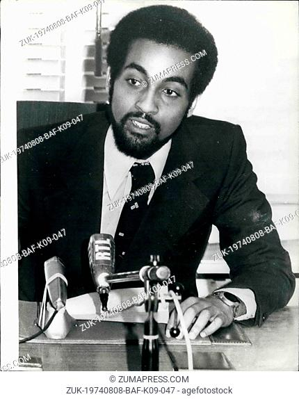 Aug. 08, 1974 - Grandson of Emperor Haile Selassie appointed acting crown prince. Photo shows:- Prince Zare Yakos, grandson of Emperor Haile Selassie of...