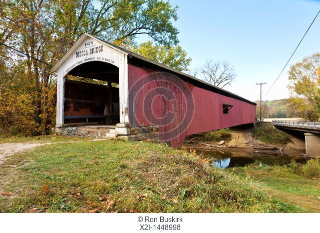 Mecca Covered Bridge was built in 1873 over Big Raccoon Creek at Mecca in Parke County, Indiana, USA