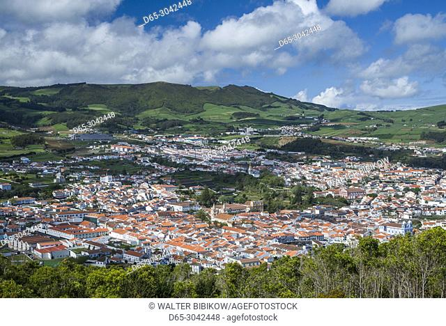 Portugal, Azores, Terceira Island, Angra do Heroismo, elevated view from Monte Brasil