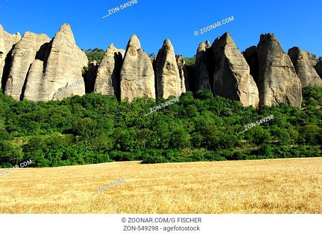 Felsformation Pénitents, Les Mées, Provence, Frankreich / Rock formation Pénitents, Les Mées, Provence, France