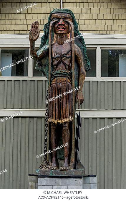 Weeping Cedar Woman carving by artist Godfrey Stephens, Tofino Community Hall, Tofino, British Columbia, Canada
