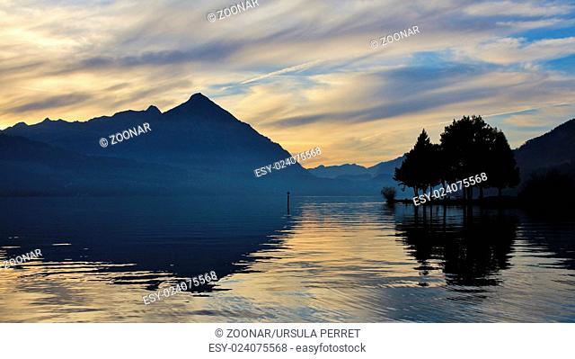 Evening scene at lake Thun, Mt Niesen