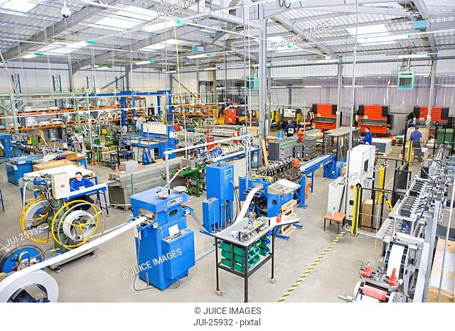 View of machinery in factory that manufactures aluminium light fittings