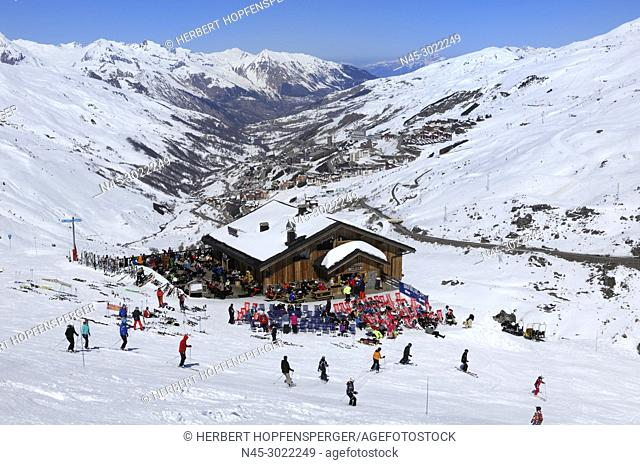 Skiers and Snowboarders relaxing at a Restaurant on Slope, Haute Savoie, Trois Vallees, Three Valleys, Ski Resort, France, Europe