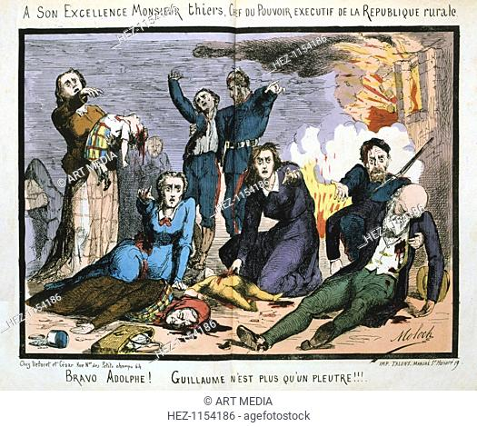 Paris Commune, 1871. Cartoon showing Paris citizens, casualties of the fighting which ensued when Adolphe Thiers, President of the Rebublican government exiled...