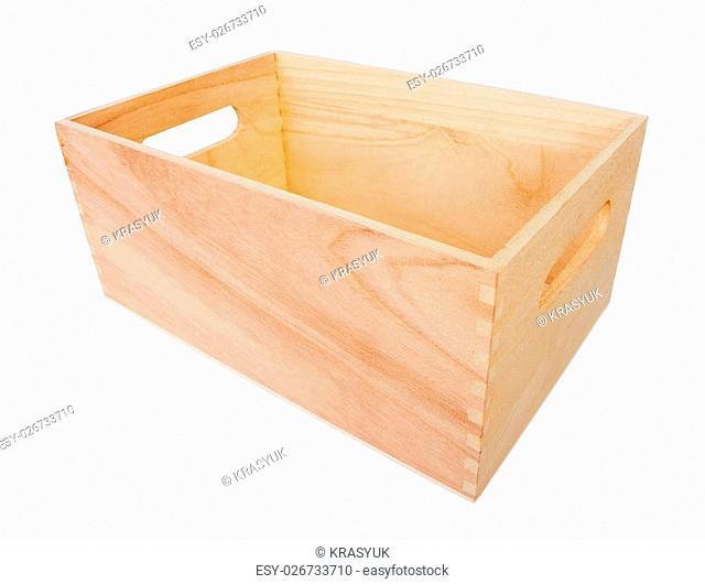 Empty Wood Box, isolated on white background