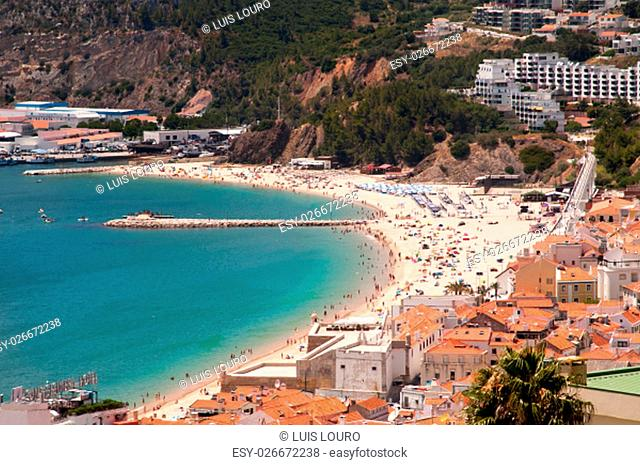 Beautiful view of Sesimbra beach in Portugal