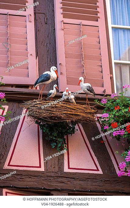 Close up of a decorative storks in Colmar, Alsace, France, Europe