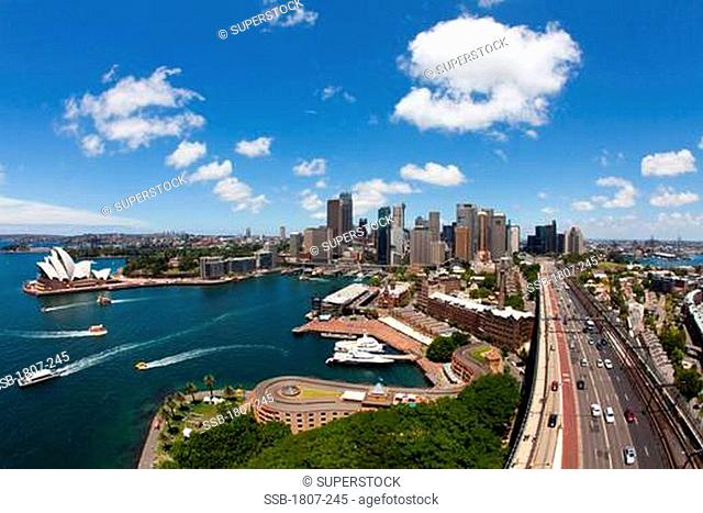 City skyline with Sydney Opera House, Sydney Harbor, Sydney, New South Wales, Australia