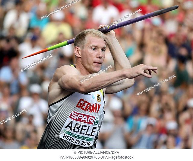 08 August 2018, Germany, Berlin: Athletics, European Championships in the Olympic Stadium: Decathlon, javelin, men, Arthur Abele from Germany in action