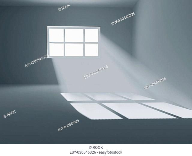 High resolution image. 3d rendering the empty room with window