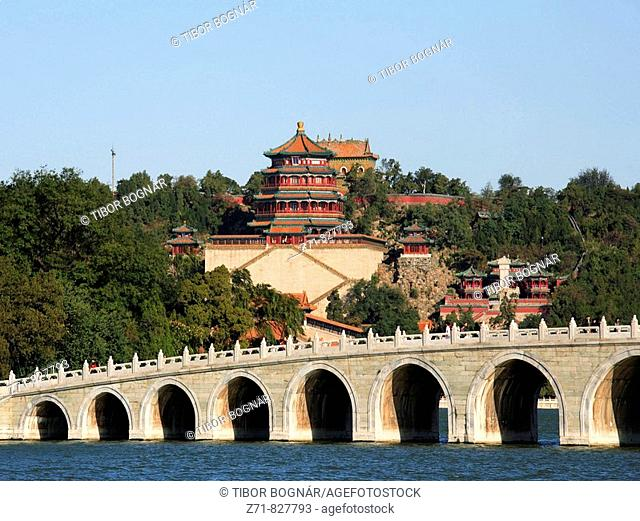 China, Beijing, Summer Palace, Bridge of 17 Arches